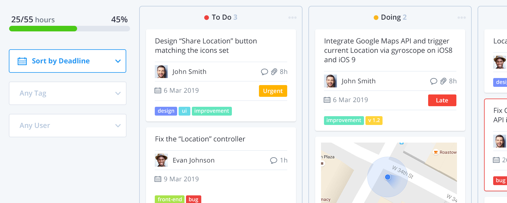 Kanban board for Agile Project Management Polydone